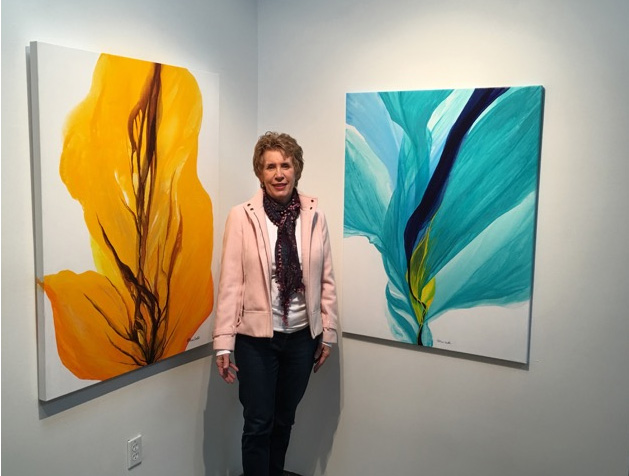 Patricia Coulter at the opening of the 'Mighty Chroma' show at the Naess Gallery, Edmonton AB, November 2015