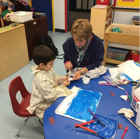 Patricia Coulter with student at North Star Play School